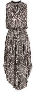 Halston Women's Sleeveless Smocked Midi Dress - Black Buff - Size Small