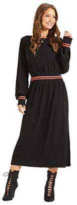 SONJA BETRO Women's Trim Crew Neck Long Balloon Sleeve Midi Dress Sporty Fashion//