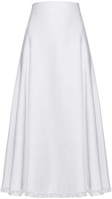 ADAM by Adam Lippes Frayed-hem linen-blend A-line skirt