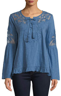 Style&Co. STYLE & CO. Long-Sleeve Lace Cotton Top