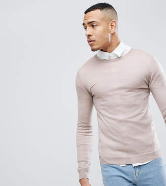Asos TALL Muscle Fit Merino Wool Sweater In Oatmeal