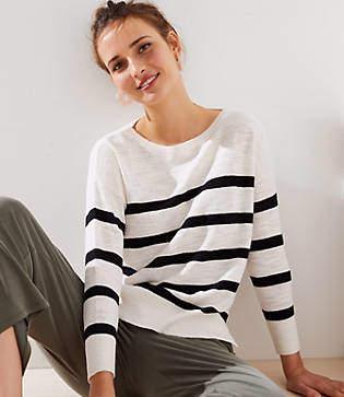 LOFT Striped Slouchy Sweater