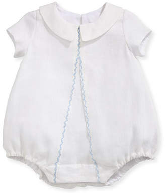 Isabel Garreton Joseph Linen Embroidered Bodysuit, White/Blue, Size 3-24 Months