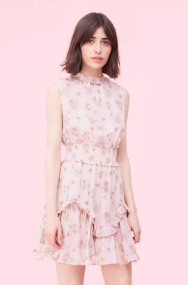 3bf8c1f2daea Rebecca Taylor Leander Floral Metallic Clip Smocked Dress