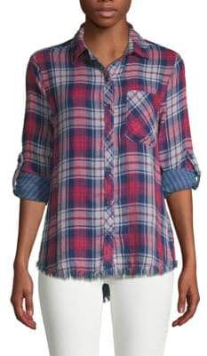 Plaid Roll-Sleeve Button Down