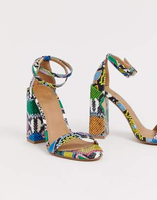 Barely There Asos Design ASOS DESIGN Highlight block heeled sandals in snake
