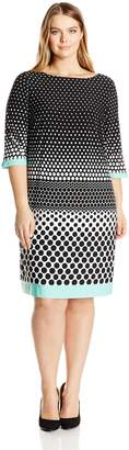 Sandra Darren Women's Plus Size 1 Pc 3/4 Sleeve Printed Dot Shift Dress