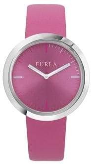Furla Valentina Stainless Steel Leather-Strap Watch