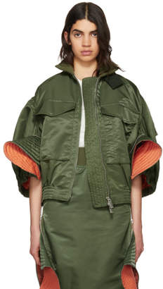 Sacai Green Ruffled MA-1 Bomber Jacket