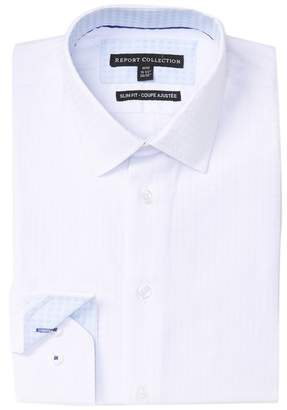 Report Collection Embossed Solid Slim Fit Dress Shirt