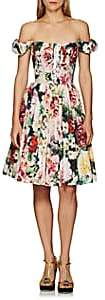 Dolce & Gabbana Women's Floral-Print Cotton Lace-Up Dress - Pink