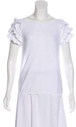 RED Valentino Ruffle-Trimmed Short Sleeve Top