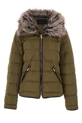 Quiz Khaki Padded Faux Fur Collar Zip Jacket