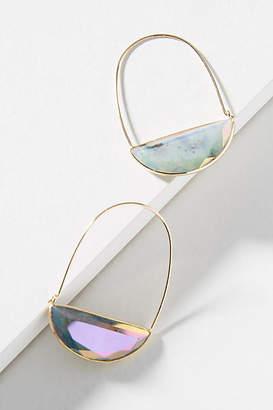 Anthropologie Stone Crescent Hoop Earrings
