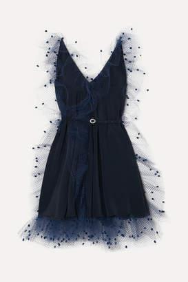 Alexis Mabille Crystal-embellished Belted Voile-trimmed Crepe Mini Dress - Navy