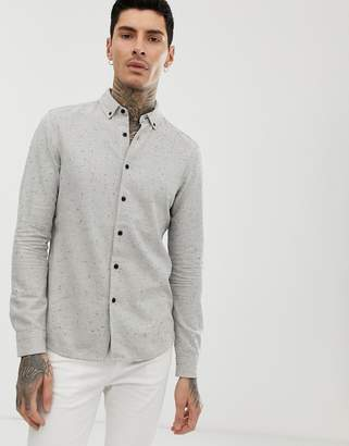 Asos Design DESIGN regular fit nep shirt in grey