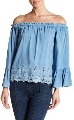 Poof Scalloped Crochet Hem Off-the-Shoulder Blouse