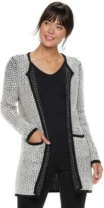 Elle Women's Textured Open-Front Long Sweater Jacket