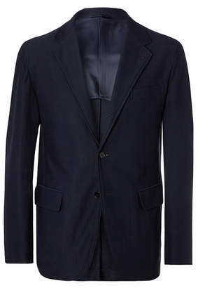 Navy Slim-Fit Twill Suit Jacket