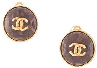 Chanel Pre-Owned round stones CC earrings