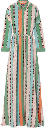 Emilio Pucci Printed Silk Crepe De Chine Maxi Dress - Green