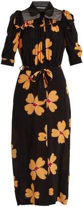 Simone Rocha Floral-print tie-waist crepe de Chine shirtdress