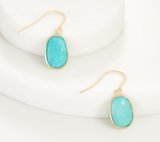 14K Gold Oval Gemstone Drop Earrings