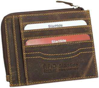 Hunter Starhide Mens Vintage Distressed Leather Credit Card Holder & Zip Around Coin Pocket Purse