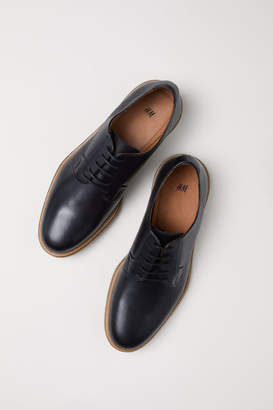 H&M Leather Derby Shoes - Black