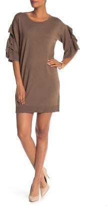 Max Studio Ruffled 3\u002F4 Sleeve Sweater Dress
