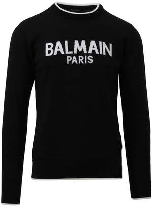Balmain Black Crewneck Logo Sweater
