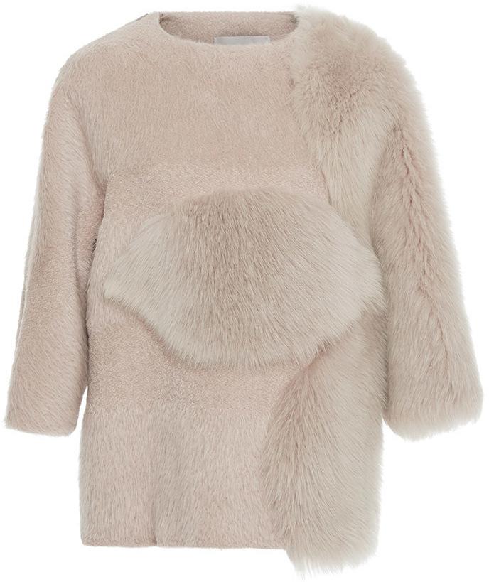 Carolina HerreraCarolina Herrera Boxy Short Sleeved Fur Top