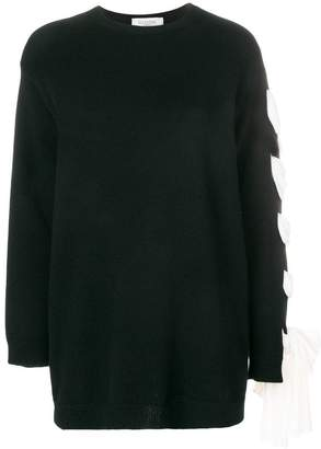 Valentino lace-up sleeve jumper