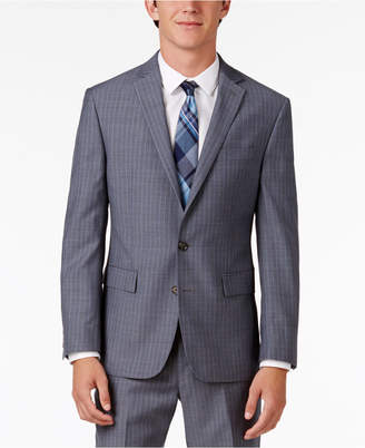 Ryan Seacrest Distinction Men's Slim-Fit Gray/Blue Double Stripe Suit Jacket, Created for Macy's