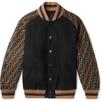Fendi Melton Logo-Jacquard Wool-Blend Bomber Jacket - Black