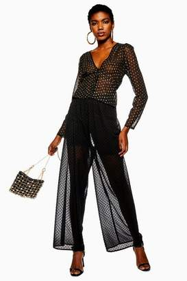 Topshop Sheer Spot Cropped Wide Trousers