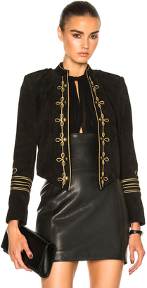 Saint Laurent Suede Officer Jacket $3,950 thestylecure.com