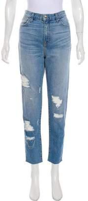 IRO Distressed High-Rise Straight-Leg Jeans