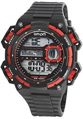 Am.pm. Am : Pm pc163-g394 Men 'sレッドandブラックデジタルスポーツ腕時計クロノグラフアラームBlacklight