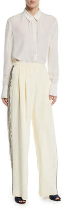 ADAM by Adam Lippes Wide-Leg Crepe Pants w/ Crystalized Embroidery