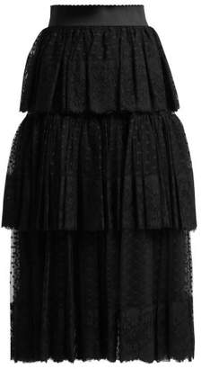 Dolce & Gabbana Tiered Tulle And Lace Midi Skirt - Womens - Black