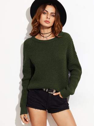 Shein Drop Shoulder Waffle Knit Sweater