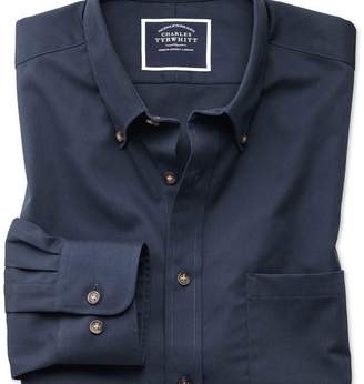 Charles Tyrwhitt Extra slim fit button-down non-iron twill navy shirt