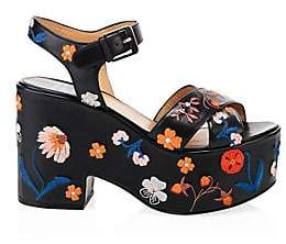 Laurence Dacade Women's Helissa Herbarium Floral Leather Platform Sandals