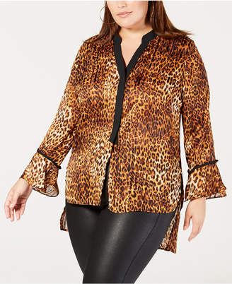 NY Collection Plus & Petite Plus Size Printed High-Low Top