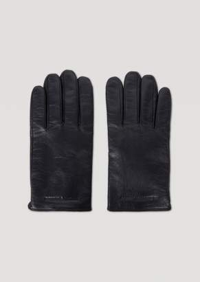 Emporio Armani Genuine Leather Gloves With Debossed Logo Details