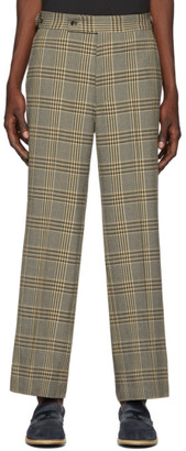 Needles Beige Graph Plaid Side Tab Trousers