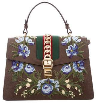 Gucci 2018 Medium Embroidered Sylvie Top Handle Bag Brown 2018 Medium Embroidered Sylvie Top Handle Bag