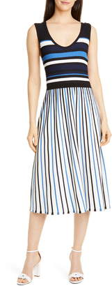 Tanya Taylor Iolanda Mix Stripe Sleeveless Midi Dress