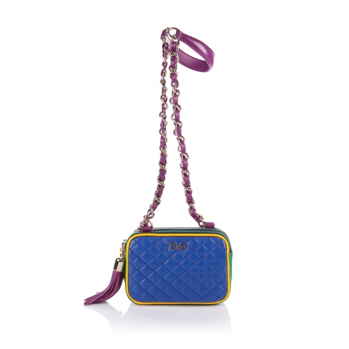 D&G Dolce & Gabbana Royal Blue/Red /Green Quilted Bag